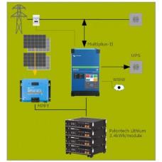 Parallel batterijopslag systeem 3kVA met MPPT en 1 energiemeter