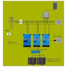 Parallel batterijopslag systeem 9kVA-3F met 2 energiemeters